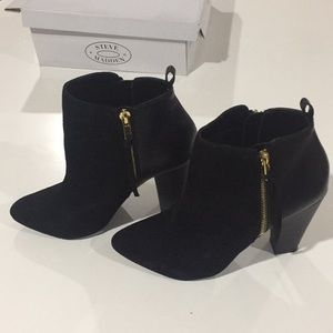 Black suede & leather heeled boots with gold zips.